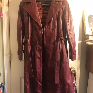 Wilsons Leather Trench Coat Size Large
